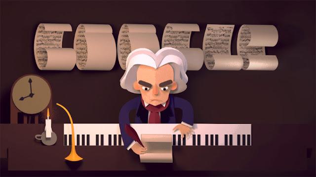 Logo Google Doodle Ludwig van Beethoven 17 Desember 2015