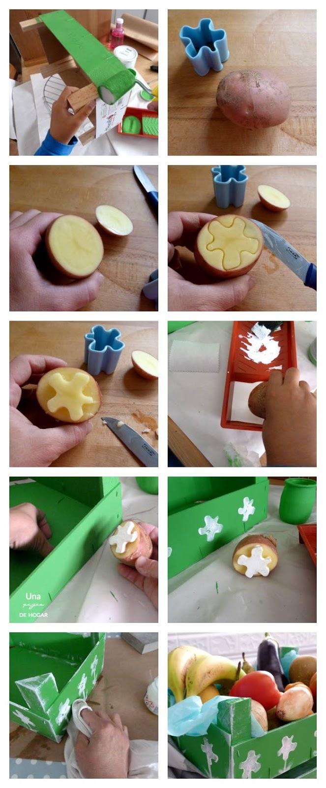 proceso para estampar una patata con pintura