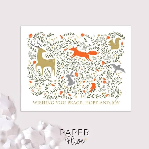 woodland animals holiday card
