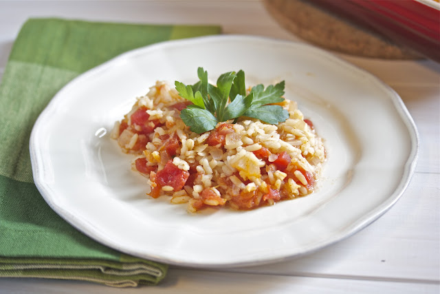 Close up of spanish rice on a white plate