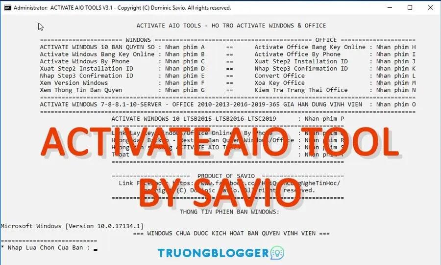 Kích hoạt Active Windows & Office mọi phiên bản với Activate AIO Tools