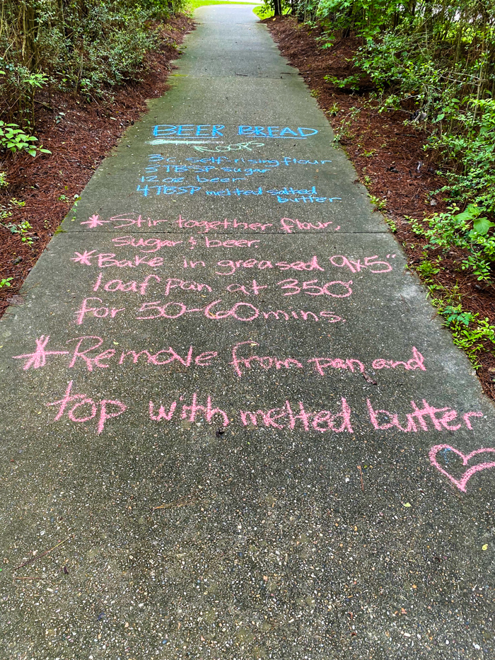 recipe in chalk on trail