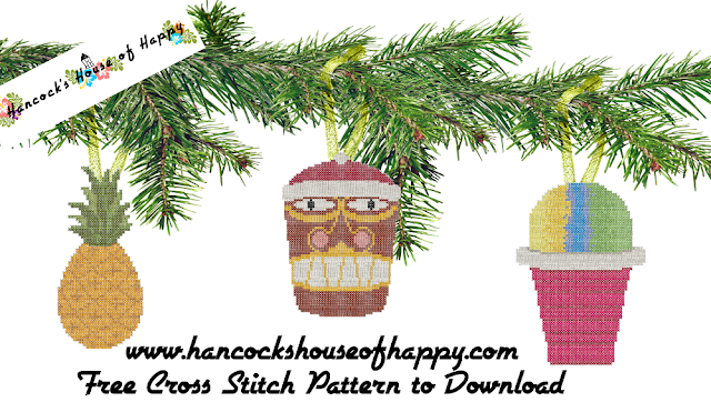 Tropical Christmas Cross Stitch Patterns with a Cross Stitch Tiki, Cross Stitch Pineapple, and Cross Stitch Shave Ice