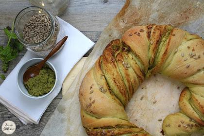 Couronne de pain brioché au pesto