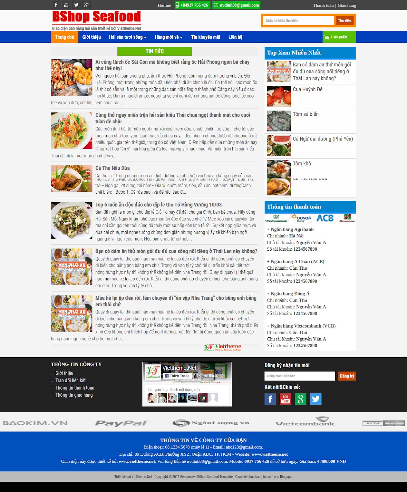 Bshop Seafood - Template diện bán hàng hải sản online dành cho Blogspot