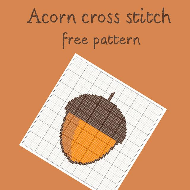 Acorn cross stitch - free pattern