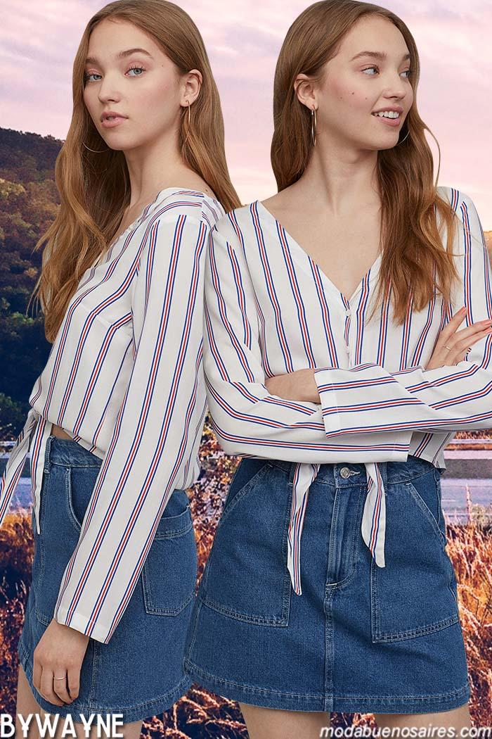 Minis de jeans primavera verano 2020. Moda mujer juvenil primavera verano 2020.