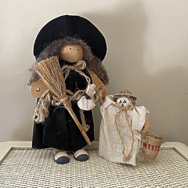 handmade witch and ghost