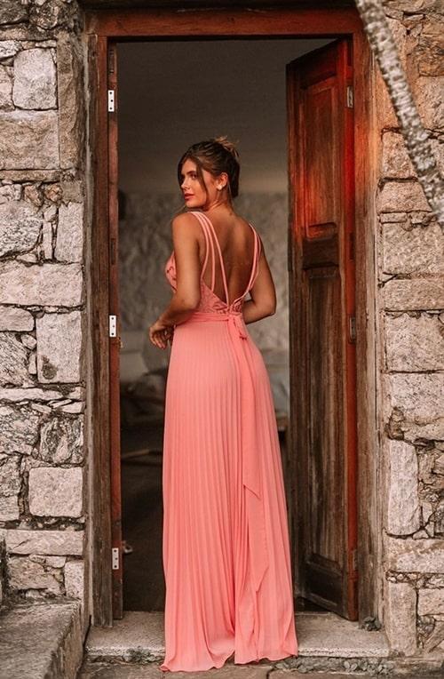 vestido longo coral pêssego para madrinha de casamento