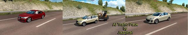 ets 2 ai traffic pack v10.4 by jazzycat screenshot, BMW 7(G11), Mazda 3 '12(sedan), new car trailer with mini excavator