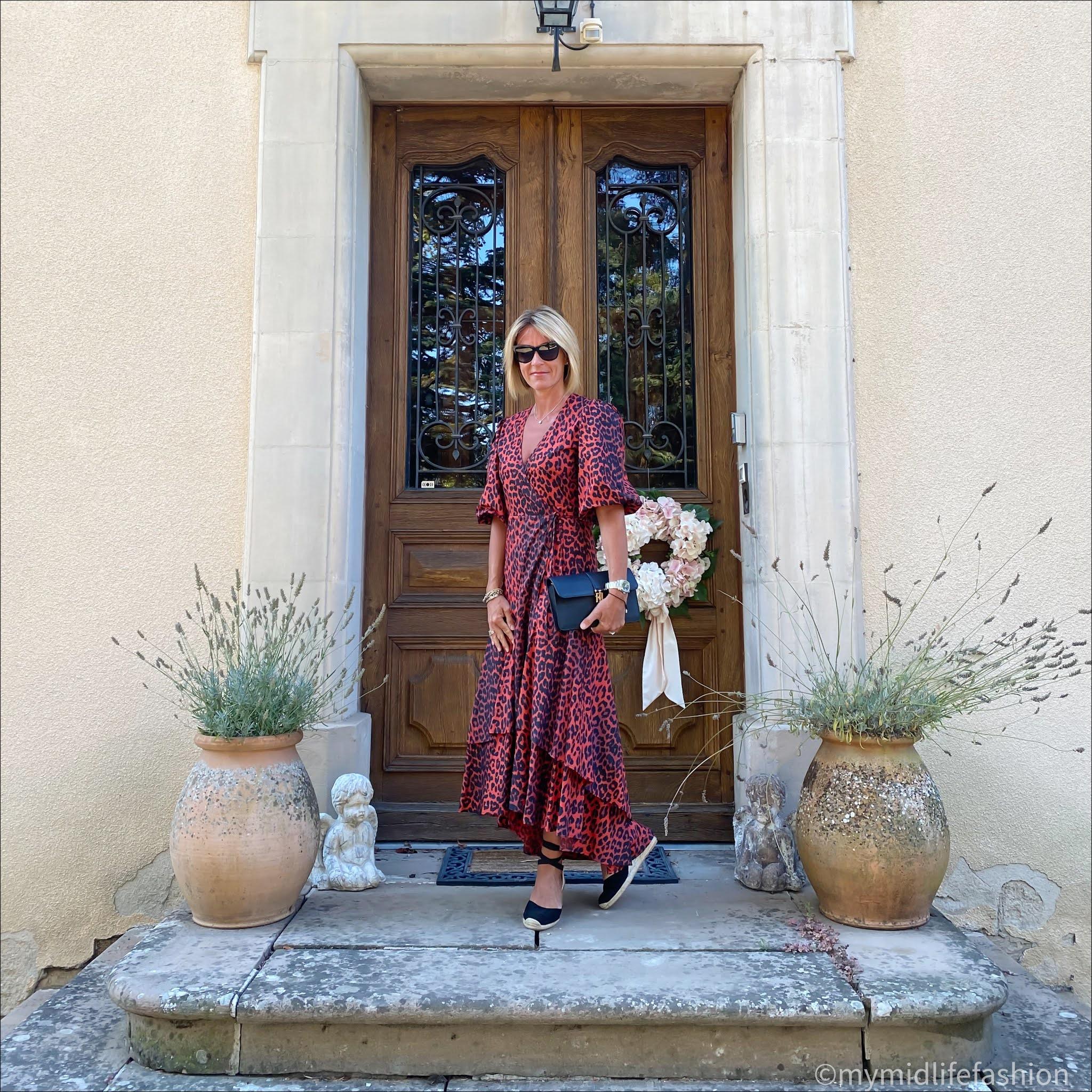 my midlife fashion, ganni puff sleeve leopard print wrap dress, boden Cassie espadrille wedge sandals, Ralph Lauren leather clutch