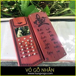 Vỏ gỗ điện thoại 1280 , 1202 - Khắc chữ Nhẫn