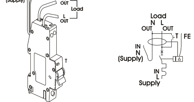 Entek Electric : RCBO wiring diagram
