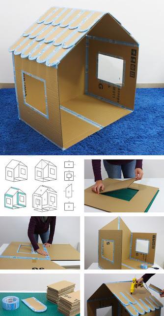 como hacer una casa de carton para niños