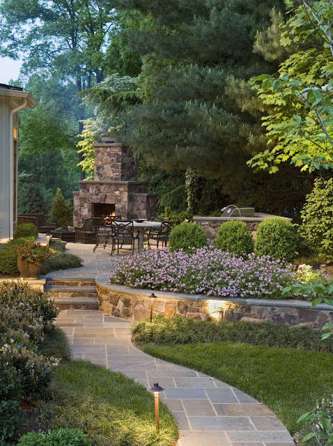 backyard landscaping ideas with fireplace patio