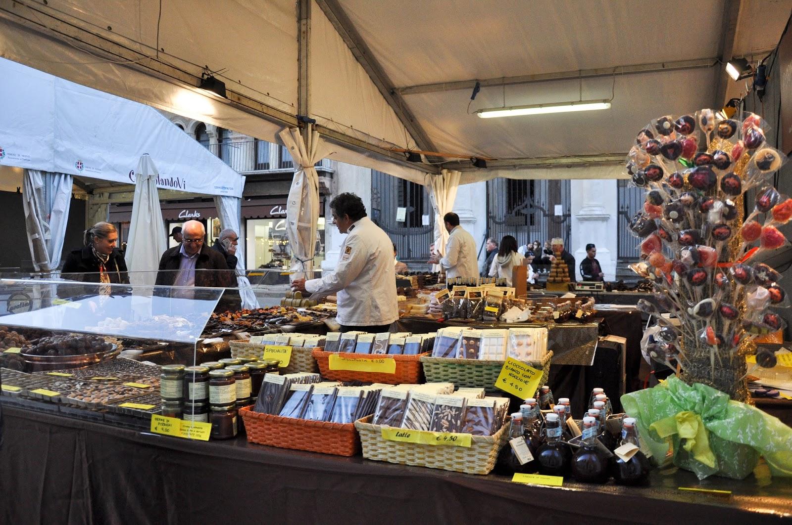 A chocolate stall, Chocolate Festival, Piazza dei Signori, Vicenza, Veneto, Italy