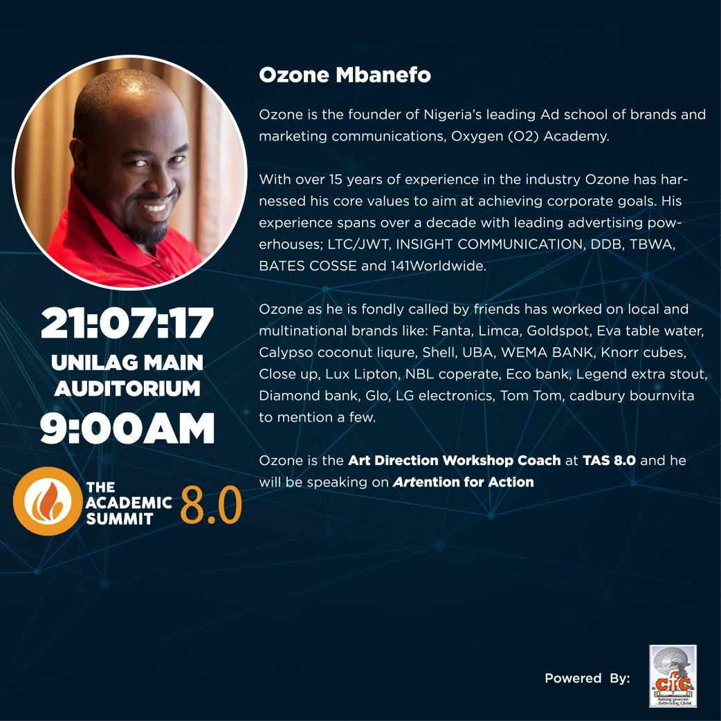 #Tas2017 : Ozone Mbanefo Will Be Coming To The Academic Summit 8.0!