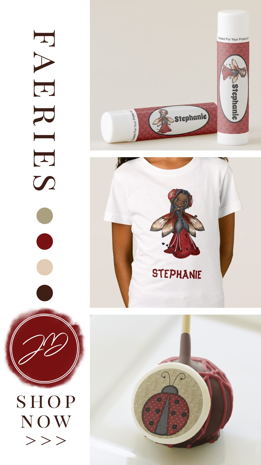 African American ladybug fairy girl's birthday party suite. Personalized apparel, invites, treats and party favors. In a red black and tan color palette.