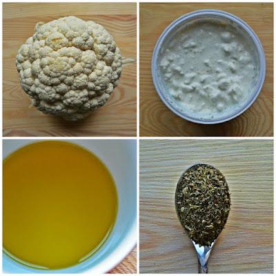 Pieczony kalafior z serowym sosem - składniki