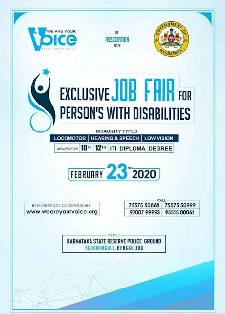 Bengaluru Mega Private Job Fair on 23rd February 2020 for Disabled Persons