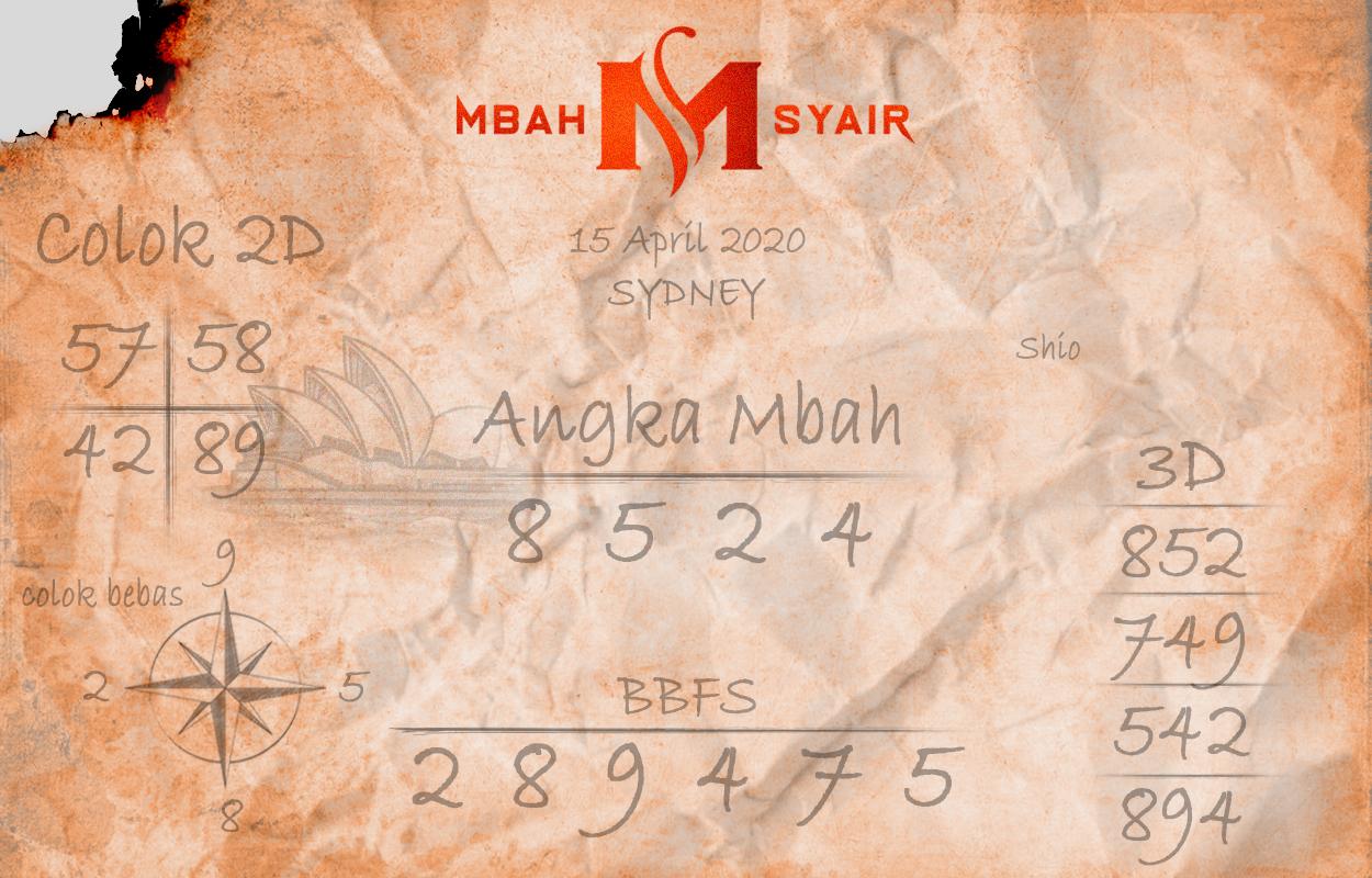 Prediksi Sydney Rabu 15 April 2020 - Mbah Syair Sidney