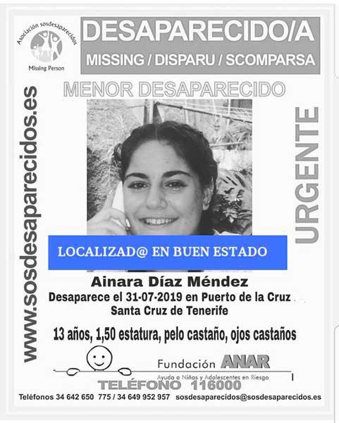 Ainara Díaz Méndez, menor desaparecida Puerto de La Cruz, Tenerife, localizada buen estado