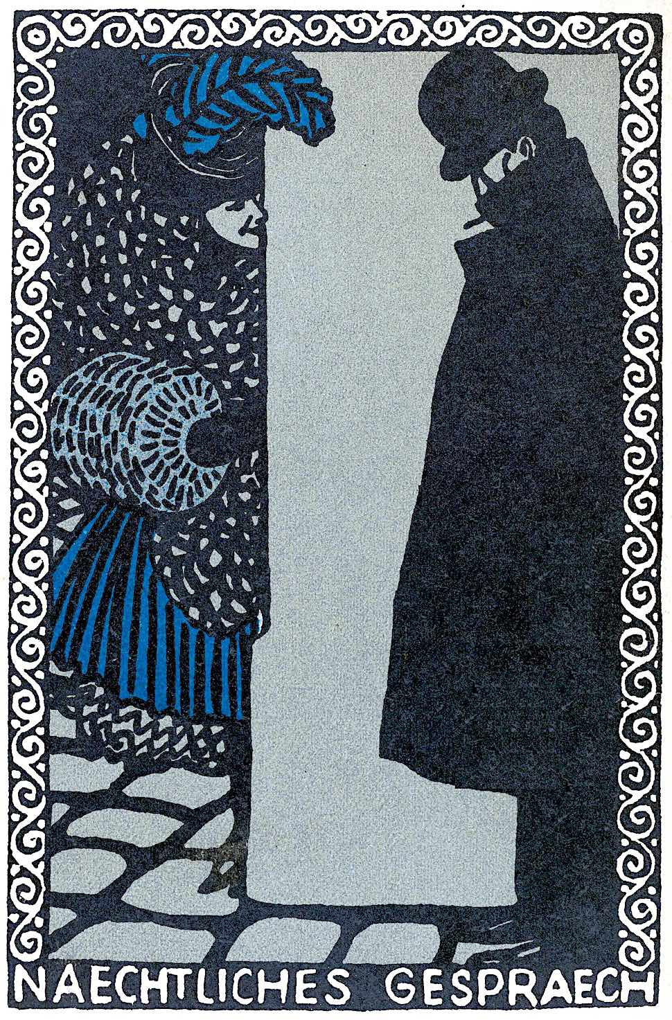 Nocturnal Conversation by Moriz Jung 1907, a sex worker speaks with a man