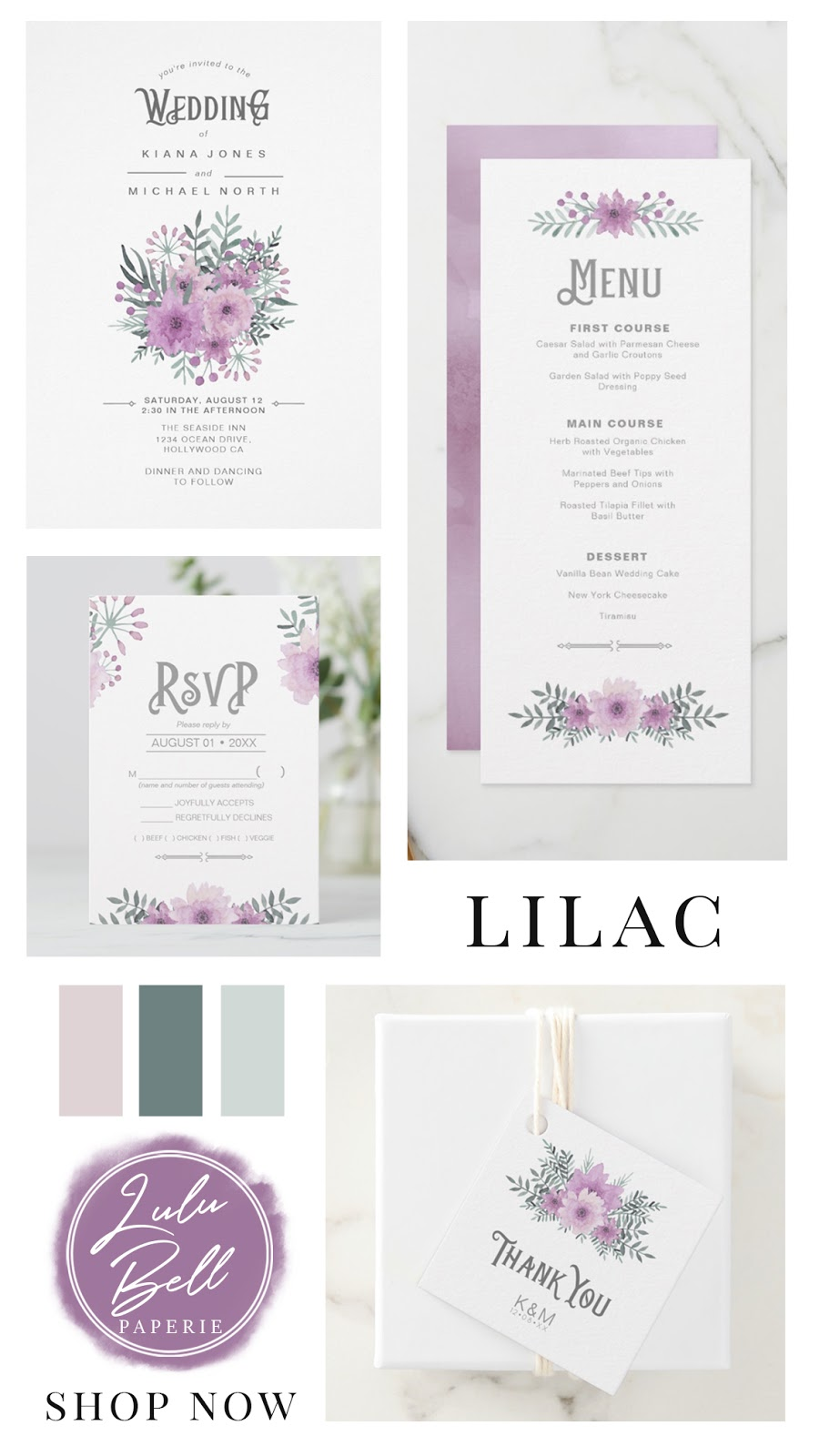Lilac floral bouquet wedding invitation suite with pretty watercolor flowers. The collection includes rsvp cards, favor tags, dinner menus, and invites. In a lilac purple, blush pink, and mint green color palette.