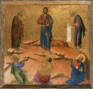 DUCCIO di Buoninsegna Transfiguration (scene 8) 1308-11 Tempera on wood, 49 x 51 cm National Gallery, London
