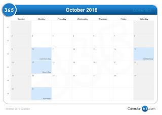 Free Printable Calendar October 2016