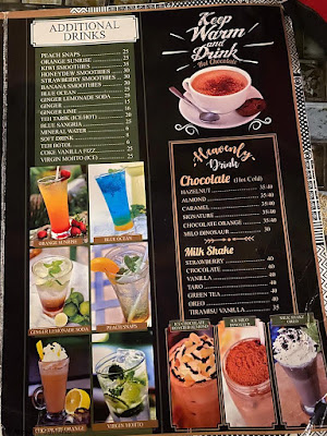 Aneka menu minuman di Sky Garden Cafe and Resto by Susan Spa and Resort