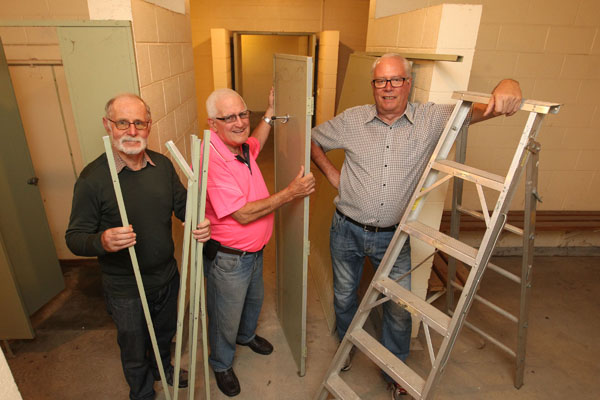 L-R: Mike Whelan, secretary, Bruce Cowie, vice-chairman, Evan Le Cheminant, chairman, Menzshed Hastings - pictured in their new clubrooms in the old changing rooms at the former Hastings Netball Courts in Sylvan Rd, Hastings. photograph