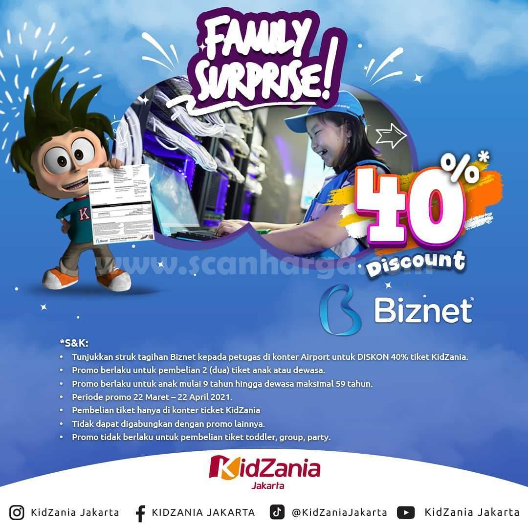 Promo KidZania X Biznet Family Surprise! Diskon 40% setiap Pembelian Tiket Anak & Dewasa (Bundling)