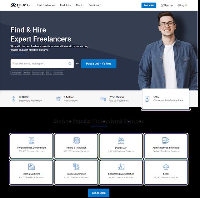 Guru is top Freelancing Website