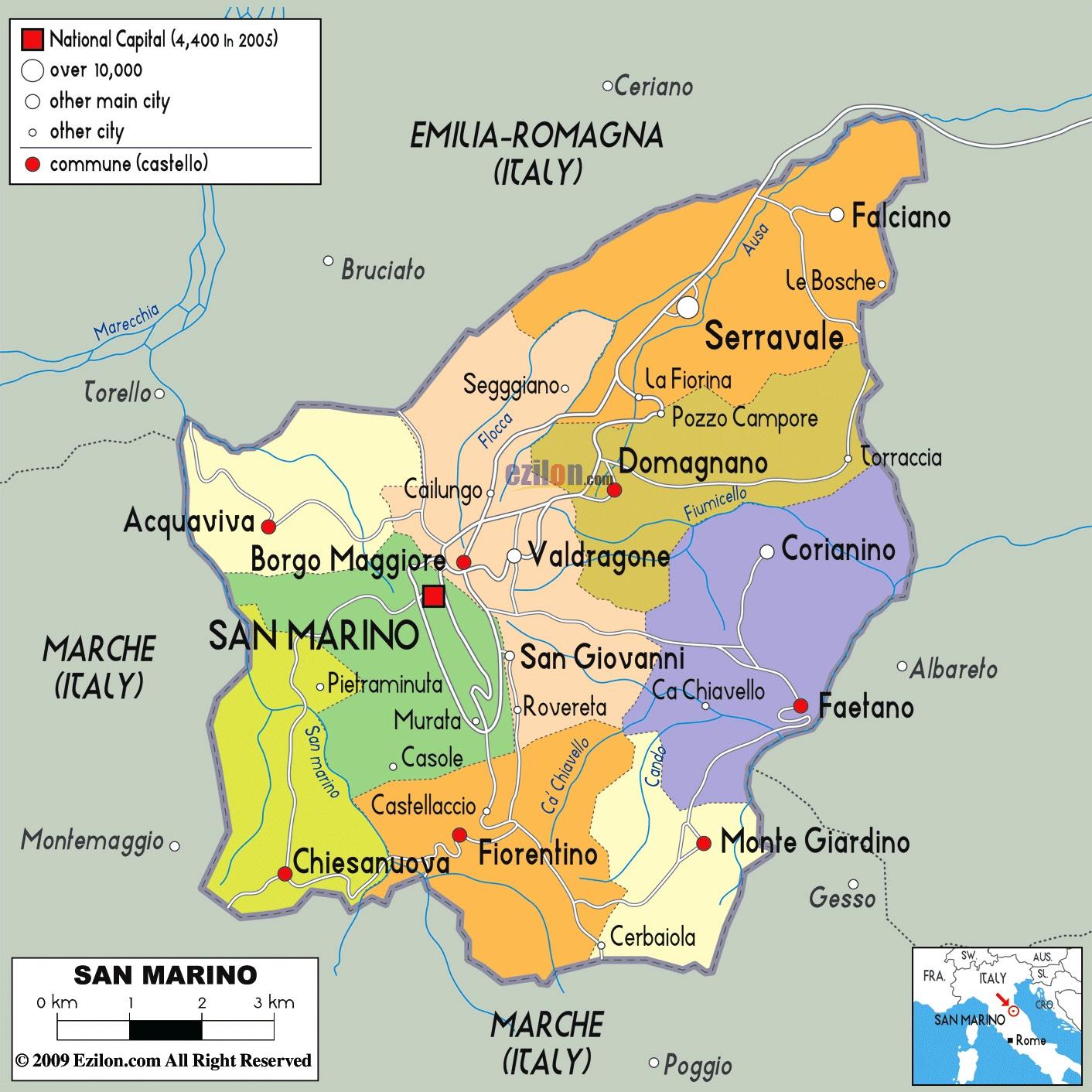 Republic Of San Marino Map Car Radio Gps