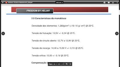 Informações bateria Freedom