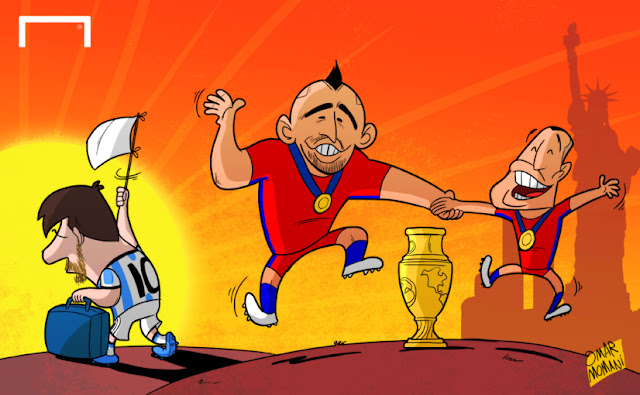 Messi retires, Vidal and Alexis celebrate cartoon