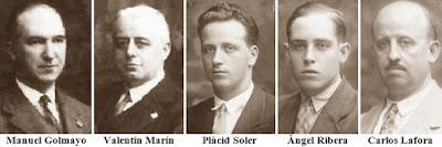 Los cinco componentes del equipo español en la Olimpiada de Ajedrez de 1930