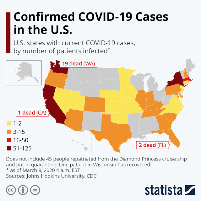 Diagnoses of Coronavirus in America #Infographic