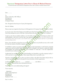 resignation letter due to health issues sample