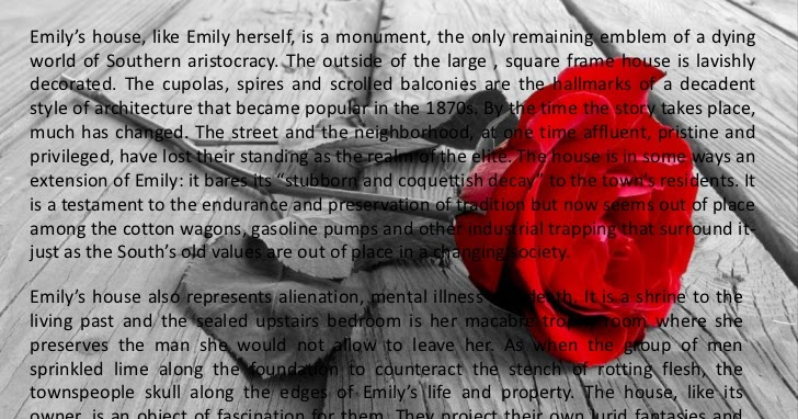 faulkners rose for emily vs dubus Glenda burgess books  (touching skillfully, mysteriously) her first rose or if your wish be to close me, i and my life will shut very beautifully , suddenly.