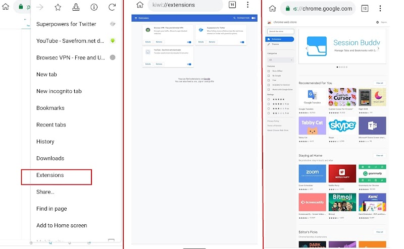 How to install Google Chrome Extensions in Android Devices