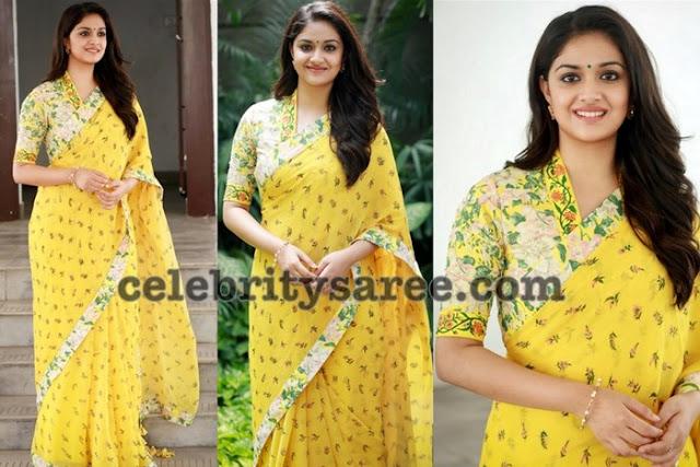 Keerthi Suresh Floral Chiffon Saree