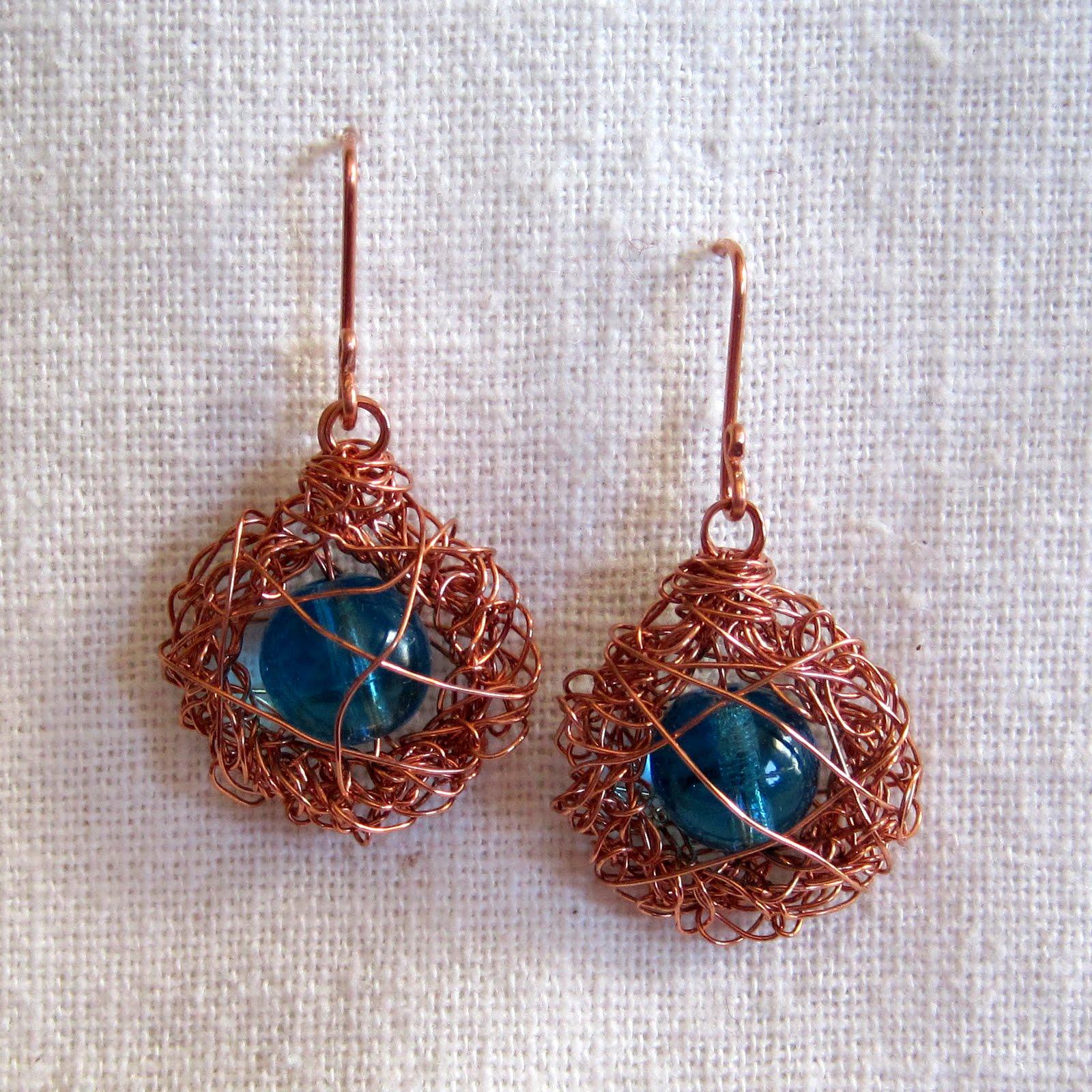 Crochet Hook Earrings: Mr. Micawber's Recipe For Happiness: Bird's Nest Wire