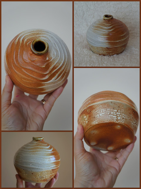 Textured and crackled soda fired pottery vase by Lily L.
