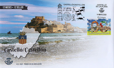 Castellón, 12 meses, 12 sellos, 12 provincias, matasellos, sello, sobre, filatelia,