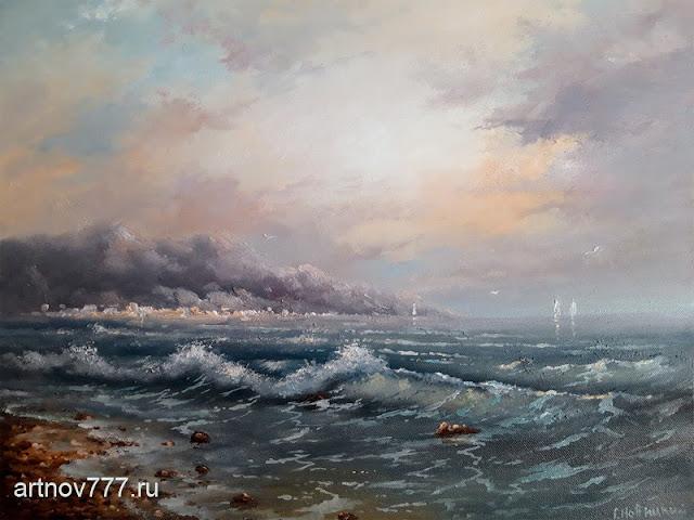 Картина, 50х40см. Город у моря. 9000руб.