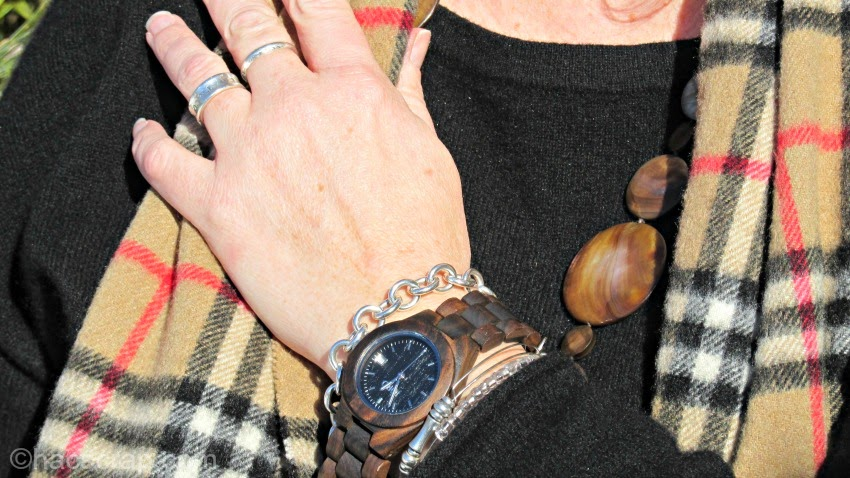 Beautiful Wooden Jord Watch, styled with a chic casual outfit in blacks and browns