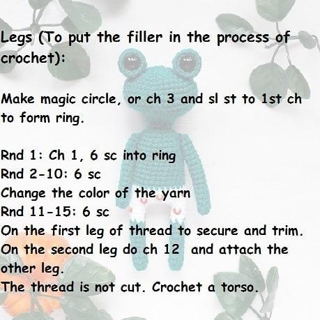 Crochet frog amigurumi pattern
