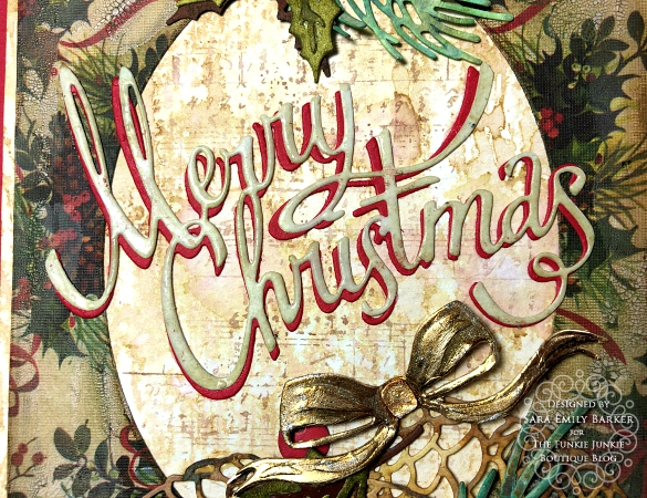 Sara Emily Barker https://sarascloset1.blogspot.com/2019/11/vintage-christmas-card-for-funkie.html Vintage Christmas Card Tim Holtz Worn Wallpaper Sizzix Thinlits Christmas Ribbon Festive Greens Funky Festive Florals Pine Branch  5